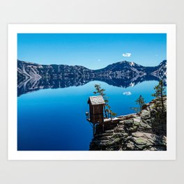 Outhouse on the Cliff // Crater Lake National Park Crystal Clear Blue Waters and Sky Art Print