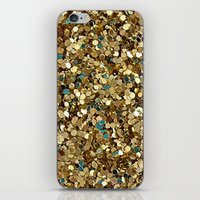 gold glitter iPhone & iPod Skins featuring Gold Glitter by Katieb1013