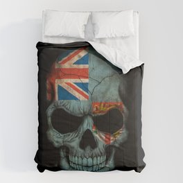 Dark Skull with Flag of Fiji Comforters
