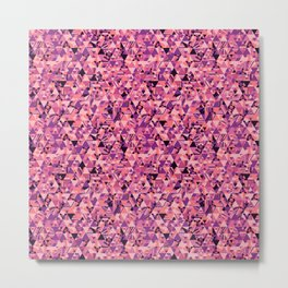 Colourful triangular mosaic in the nuance of pink Metal Print