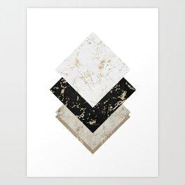 Scandinavian Geometric | Black Gold White Marble Art Print