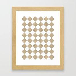Large Diamonds - White and Khaki Brown Framed Art Print