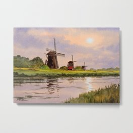 Windmills In The Netherlands Metal Print