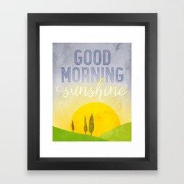 Good morning, sunshine! Kitchen art, kitchen wall decor, modern landscape & typography art. Framed Art Print