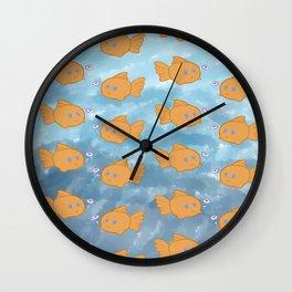 Cute Repeating Gold Fish Wall Clock