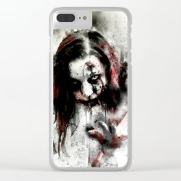 Watercolor Zombie, Horror Zombie, Cool Women Zombie Painting Clear iPhone Case