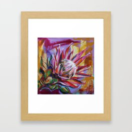 The King Protea - hot pink and yellow ochre Framed Art Print