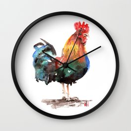 Watercolor Rooster Painting by ili Wall Clock
