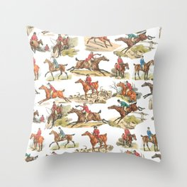 CRAZY HORSE RIDING IN THE FIELD Throw Pillow