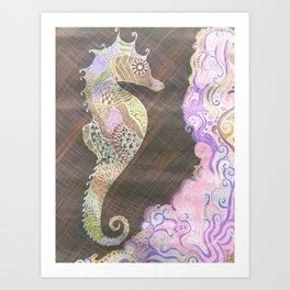 Neon Sea-Horse Art Print