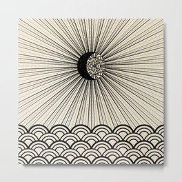 Radiant decorated moon minimal seascape - black lines on neutral Metal Print