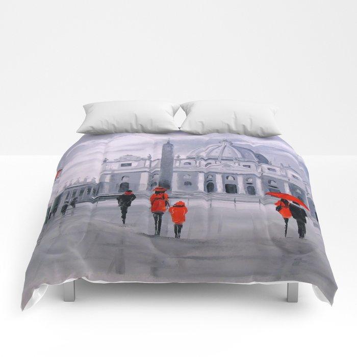 Walking in Rome Comforters
