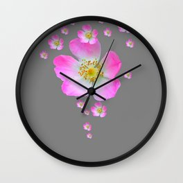 WILD PINK ROSE CASCADE ON GREY Wall Clock