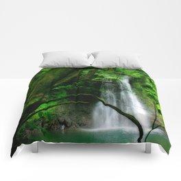 Waterfall in Azores islands Comforters