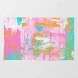 Abstract Acrylic - Turquoise, Pink & Gold Rug