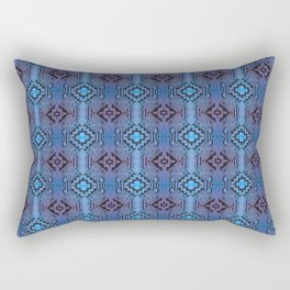 Blue Southwestern Style Doodle Pattern Rectangular Pillow