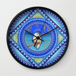Australian Kingfisher Mandala Wall Clock