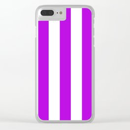 Vivid mulberry violet - solid color - white vertical lines pattern Clear iPhone Case