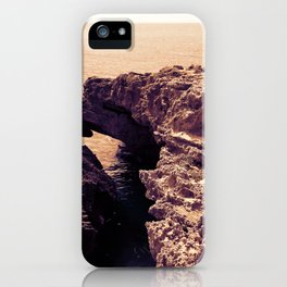 Cave on Mediterranean sea in monochrome iPhone Case