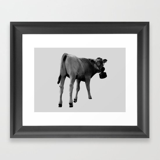 gas mask cow Framed Art Print
