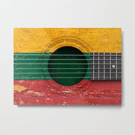 Old Vintage Acoustic Guitar with Lithuanian Flag Metal Print
