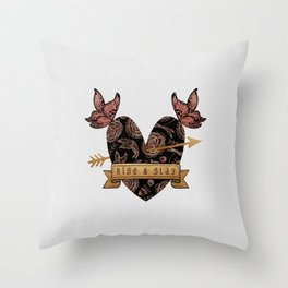 Rise & Slay, Feminist Quote Throw Pillow