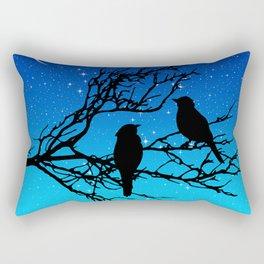 Birds on a Branch, Black Against Evening Blue Rectangular Pillow