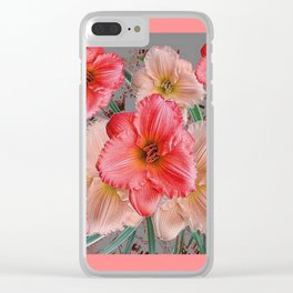 CORAL COLORED  PINK & CREAM DAYLILIES Clear iPhone Case