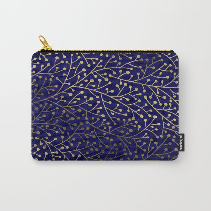 Gold Berry Branches on Navy Carry-All Pouch