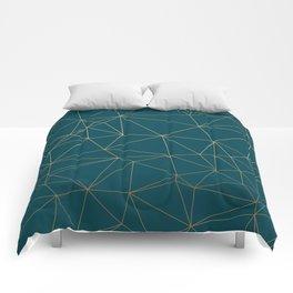 Benjamin Moore Hidden Sapphire Gold Geometric Pattern Comforters