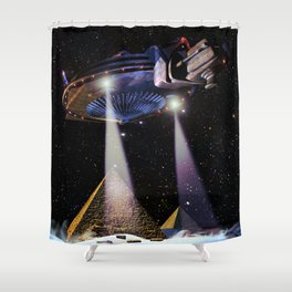 UFO over Pyramids Shower Curtain
