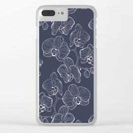 Retro . Orchid flowers on a blue background . Clear iPhone Case