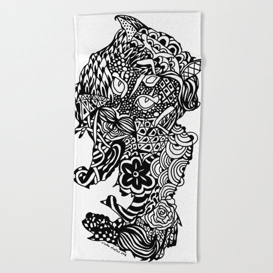 Dragon Cat Beach Towel