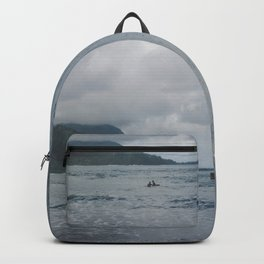 Two Surfers in a Sea - Kauai, Hawaii Backpack