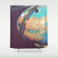 globe Shower Curtains featuring old globe by KimberosePhotography