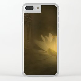 A mystic lotus flower illuminated by the moon in a Chinese garden.. Clear iPhone Case
