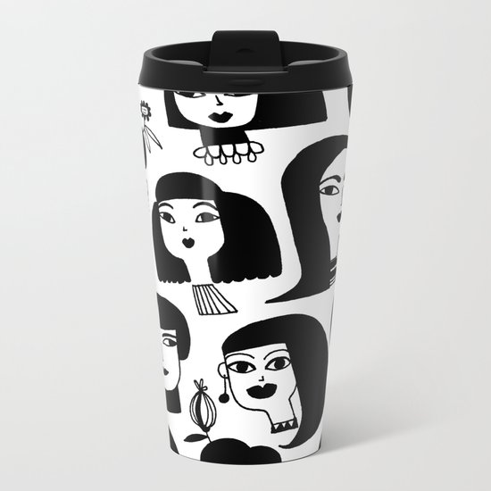 GIRLS AND ONE CAT Metal Travel Mug