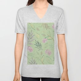 Simple and stylized flowers 5 Unisex V-Neck