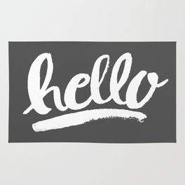 Hello Hand lettering - Dark Gray Rug