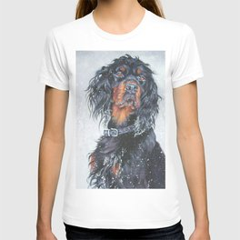 Gordon Setter dog art in snow from an original painting by L.A.Shepard T-shirt