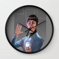 spock Wall Clocks featuring Spock by Matt Hancox