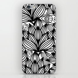 Modern hand drawn black white watercolor floral iPhone Skin