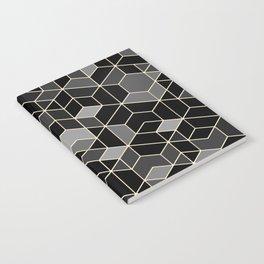 Black geometry / hexagon pattern Notebook