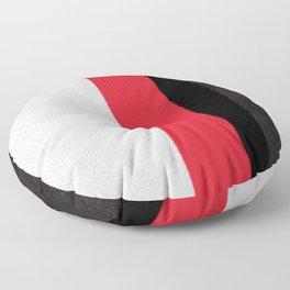 silver grey red black striped geometric minimal digital painting Floor Pillow