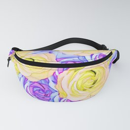 blooming rose texture pattern abstract background in yellow and pink Fanny Pack