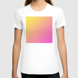 Yellow and Bright Pink Gradient Ombre Abstract T-shirt