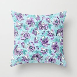 Amethyst Crystal Clusters / Violet and Aqua Throw Pillow