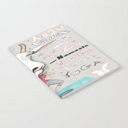 goat yoga, gray white aqua turquoise red Notebook