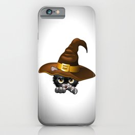 Black Kitten Cartoon With Witch Hat iPhone Case