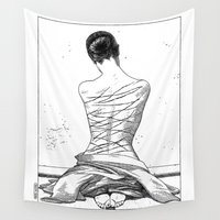 apollonia Wall Tapestries featuring asc 597 - Les amatrices III (Sketchwork) by From Apollonia with Love